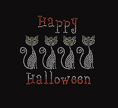 Happy Kitty Halloween Rhinestone Iron on Transfer -