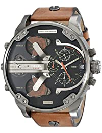 Men's DZ7332 Mr Daddy 2.0 Gunmetal Brown Leather Watch