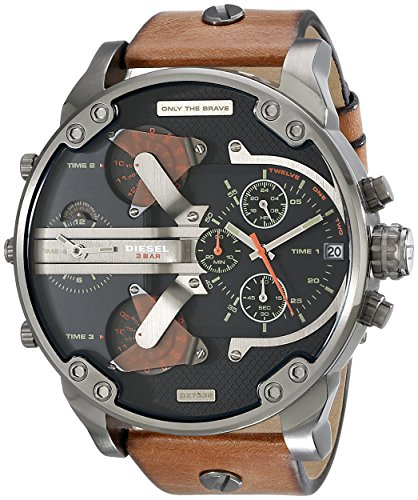 Diesel Mens Brown Leather - Diesel Men's DZ7332 Mr Daddy 2.0 Gunmetal Brown Leather Watch