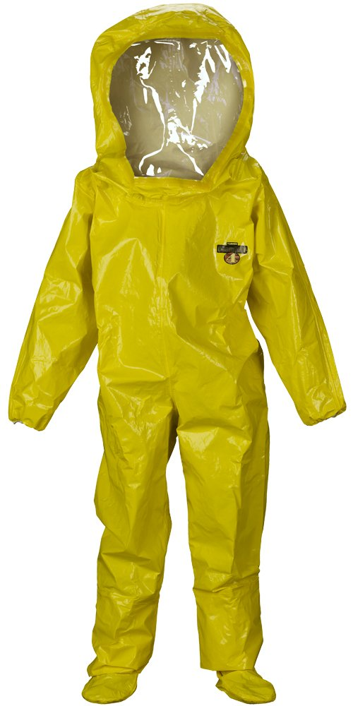 Lakeland ChemMax 4 TES Level B Taped Seam Encapsulated Suit with Expanded Back and Back Entry, Disposable, Elastic Cuff, 2X-Large, Yellow