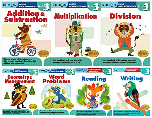 Kumon Grade 3 Complete Set (7 Workbooks) - Addition&Subtraction, Multiplication, Division, Geometry&Measurement, Word Problems, Reading, Writing (Grade Complete Set)
