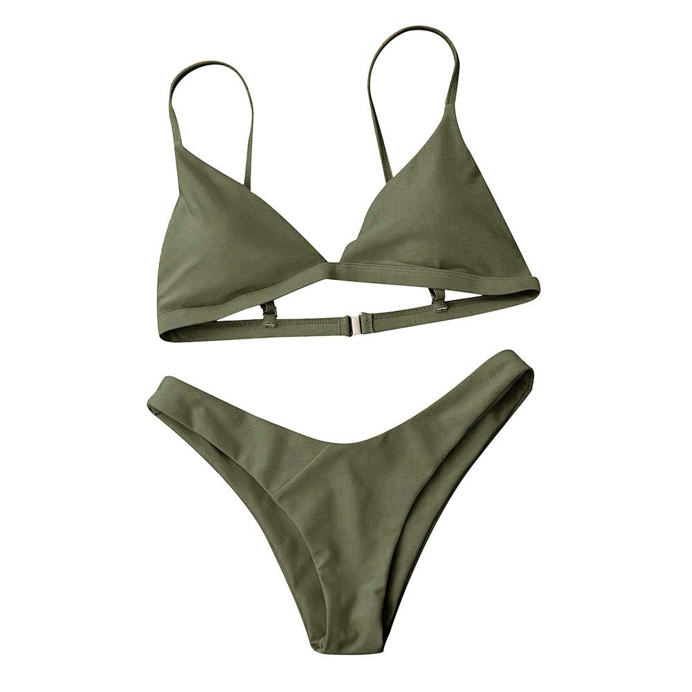 Tsmile Women Swimsuit Two Piece Push-Up Padded Bra Beach Bikini Set Solid Swimsuit Swimwear Beachwear Army Green