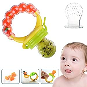 Baby Feeder Pacifier Silicone Sac Teether Nibbler Soother for feeding food with Fresh Frozen Fruits as Teething Rattle Toy for infants toddlers babies without mesh bag. FREE E-BOOK