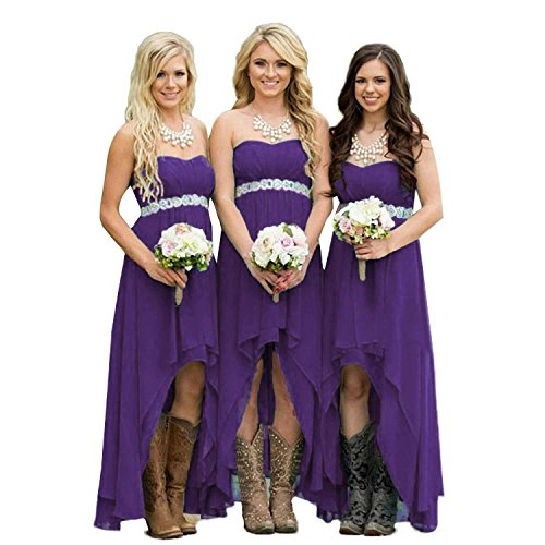 Lemai High Low Beaded Chiffon Sweetheart Corset Empire Prom Bridesmaid  Dresses Plus Size Deep Purple US 16W