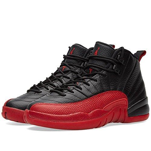 Jordan Kid's Air 12 Retro BG, BLACK/VARSITY RED, Youth Size 4 by NIKE