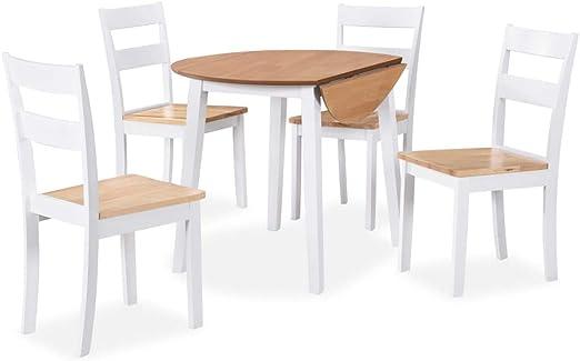 vidaXL Set Comedor 5 Piezas Madera Blanco Mesa Silla Mueble ...