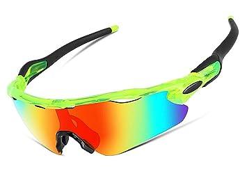Aili Gafas De Sol Deportivas,UV 400 Protección Gafas Deportivas Polarizadas con 5 Set De