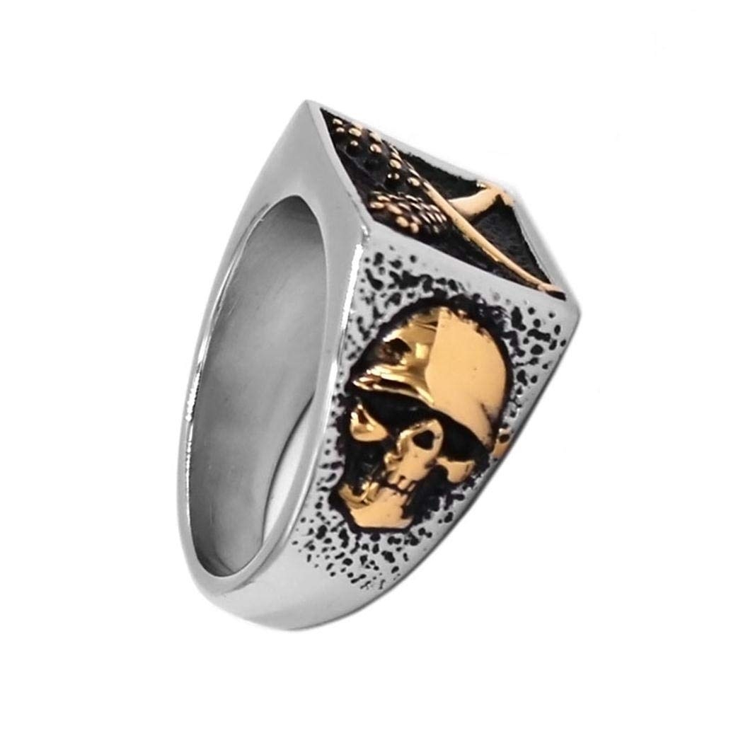 JEWURA Biker Ring Fashion Stainless Steel Jewelry Baseball Bat and Skull