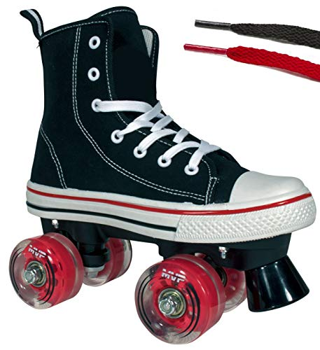 (Lenexa Roller Skates for Girls and Boys MVP Kid's Unisex Quad Roller Skates with High Top Shoe Style for Indoor/Outdoor (Black & Red, 4))