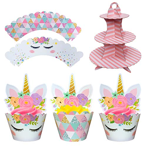 Coco & Ella Unicorn Party Cupcake Toppers Wrappers