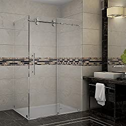 "Aston Langham 44"" to 48"" x 33.8125"" x 75"" Completely Frameless Sliding Shower Enclosure, Polished Chrome"