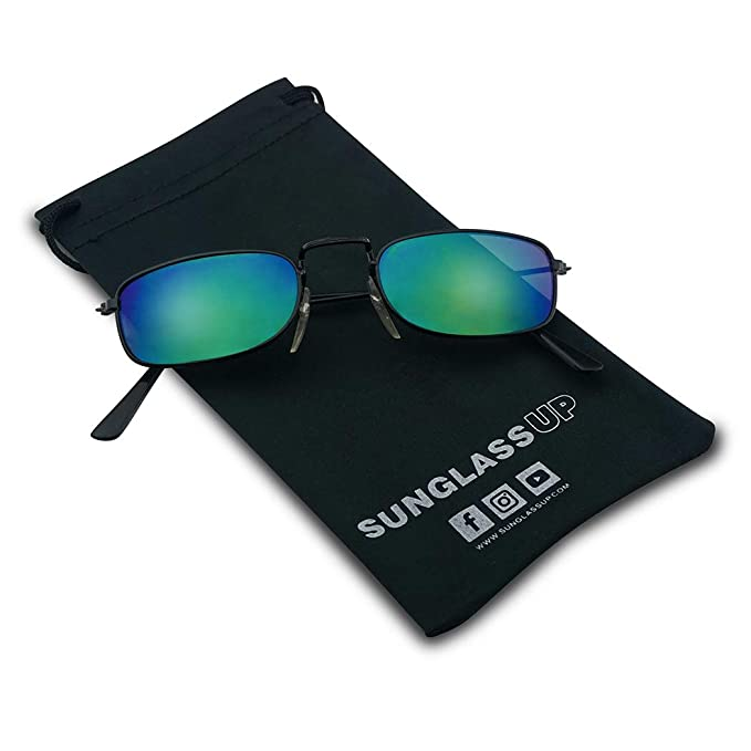 1a1aaa5713a Amazon.com  Small 90 s Vintage Rectangular Thin Metal Frame Reflective  Mirrored Slender Sunglasses - Unisex (Black Frame