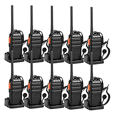 Retevis H-777S Two-Way Radios Long Range Rechargeable FRS Radio Vox Security Walkie Talkies with Earpieces (10 Pack)