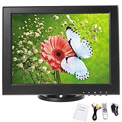 YaeCCC 12 inch CCTV TFT LCD Monitor VGA/AV/HDMI/TV Input Display Security Camera 800 x 600 Computer Screen with Remote Control