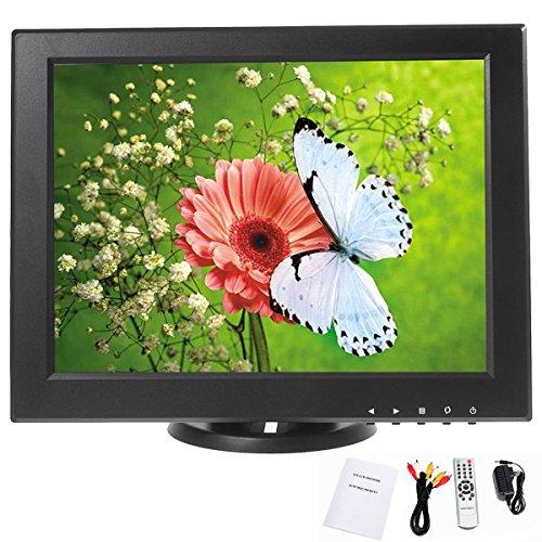 YaeCCC 12 inch CCTV TFT LCD Monitor VGA/AV/HDMI/TV Input Display Security Camera 800 x 600 Computer Screen with Remote Control