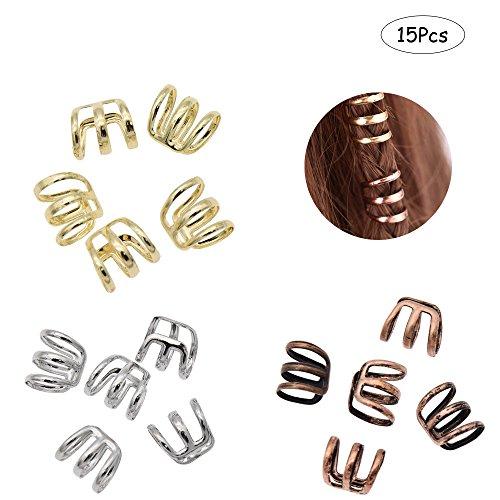 Ximimark 1 Set(15 Pcs) Dreadlock Beads Dread Hair Braid Cuff Tube Clip Adjustable Hair Rings Set,Golden,Silvery,Bronze