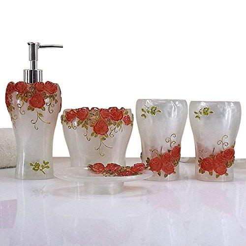 3D rose flowers adorn Bath Ensemble, 5 Piece Bathroom Accessories Set, Collection Bath Gift Set Features Soap Dispenser, Toothbrush Holder, Tumbler, & Soap Dish