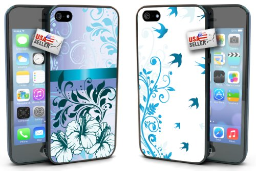 Blue Flowers and Birds Designer Cases TWO PACK for iPhone 4 or 4s