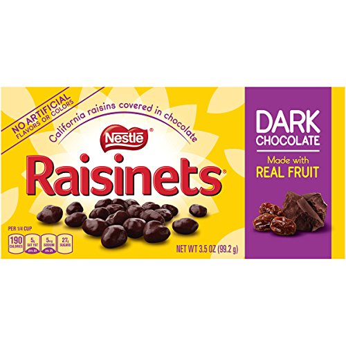 Raisinets Sun-Ripened Plump Juicy California Raisins Tucked in Rich Creamy Dark Chocolate, 15 Count (Raisins Covered Chocolate Raisinets)