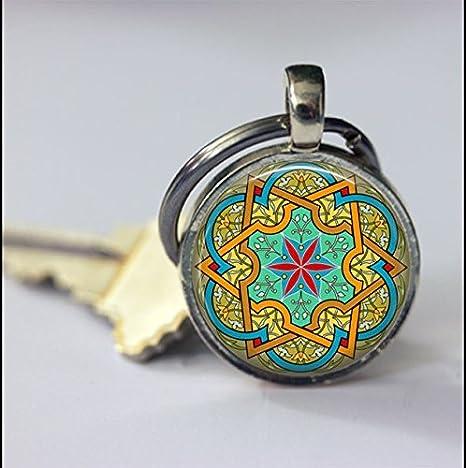 Llavero de mandala, diseño de mosaico, color azul, verde y ...