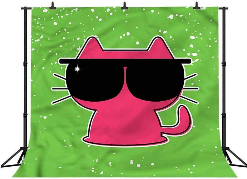 6x6FT Vinyl Photography Backdrop,Kids,Cute Feline with Sunglasses Photo Background for Photo Booth Studio Props