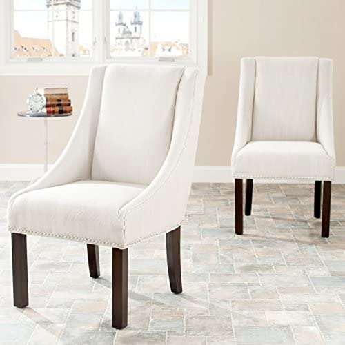 Safavieh Mercer Collection Polyester Sloping Arm Dining Chair, Felix Beige