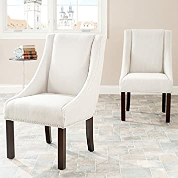Safavieh MCR4708A-SET2 Mercer Collection Polyester Sloping Arm Dining Chair, Felix Beige
