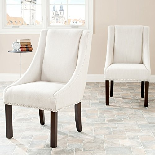Safavieh Mercer Collection Felix Beige Polyester Sloping Arm Dining Chair, Set of 2 For Sale