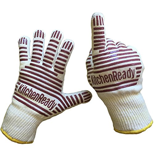Premium Cooking Gloves, Heat Resistant, Oven BBQ Mitts by KitchenReady, 100% Cotton Lining, Silicone Stripes for Ultimate Safe Grip, Baking, Barbecue, Grilling, Kitchen, Chef Supplies Accessories (Oven Mitts For Small Hands compare prices)