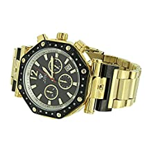 Gold Tone Watch Octagon Face Stainless Steel Real Diamond Aqua Master Mens Custom