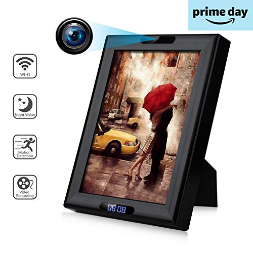 Wireless Camera Photo Frame with Clock HD 1080P WiFi IP Nanny Cam Home Security Cameras Night Vision Motion Detection