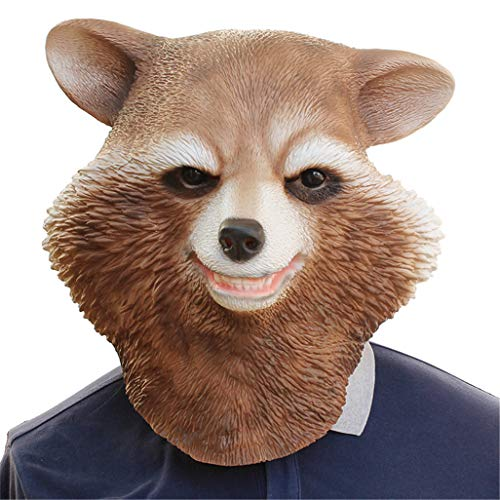 Halloween Mask Costume Head Mask Novelty Halloween Party Masks Funny Scary Latex Head Racoon Mask ()