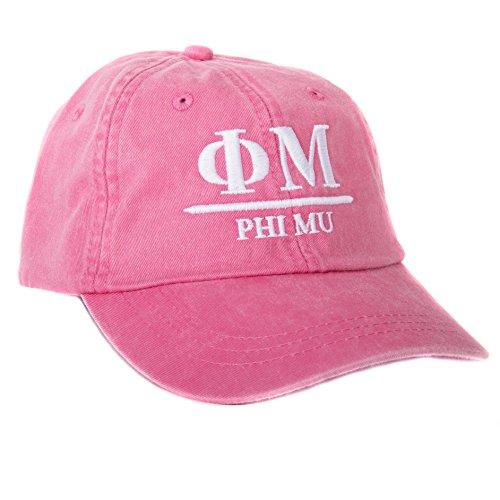 4bf2b6d8fc73f Mu Hat (Phi Mu (B) Sorority Embroidered Baseball Hat Cap Cursive Name Font