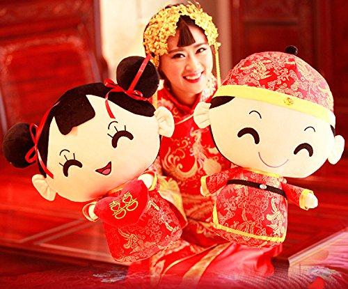 Kenmont Chinese Style Costume Couple Pillow Doll Throw Plush Pillows,Wedding Festive Wedding Doll, Couples Creative Wedding Gift Plush (Creative Couples Costume)