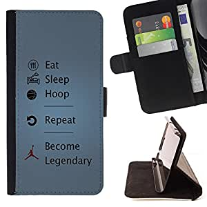 For Samsung Galaxy S5 Mini, SM-G800 Funny Eat Sleep Hoop Legendary Leather Foilo Wallet Cover Case with Magnetic Closure