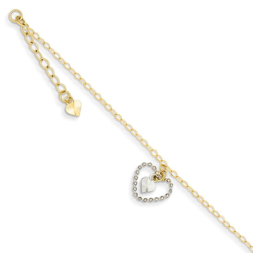 ICE CARATS 14k Two Tone Yellow Gold Twisted Hearts 1 Inch Adjustable Chain Plus Size Extender Anklet Ankle Beach Bracelet Fine Jewelry Gift Set For Women Heart