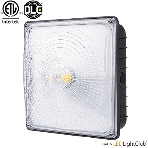 "Parmida LED Canopy Light, 70W, Dimmable, 8400lm, 110-277VAC, IP65 WATERPROOF, DLC-Qualified & ETL-Listed, 5000K (Day Light), 9.6"" x 9.6"", Gas Station, Street, Area & Outdoor Lighting, Commercial Grade"