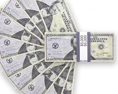 Realistic Double Sided Prop Money - Set of 100 $50 Dollar Bill Total $5,000 with Black Currency Strap - Full Print Paper Cash for Movie, TV, Videos, Pranks, Advertising & Novelty, 6.25 x 2.5 inches -