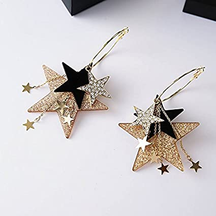 5837d4a9d Image Unavailable. Image not available for. Color: usongs Korean fashion  ear jewelry exaggerated size multi-plate pentagonal star tassel earrings big  circle