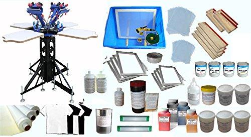 4 Color Silk Screen Printing Kit 4 Color 4 Station Screen Printing Machine Screen Platen Rotating Screen Printing Press Artdid 006966