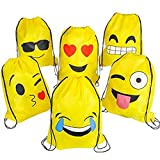 KUPOO Emoji Party Supplies Favor Bags Drawstring Backpack for Kids Teens Boys and Girls Birthday Goody Gift 16X13 Inch,6pcs emoji bags Review