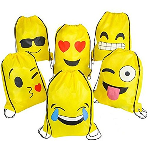 KUPOO Emoji Party Supplies Favor Bags Drawstring Backpack for Kids Teens Boys and Girls Birthday Goody Gift 16X13 Inch,6pcs emoji bags