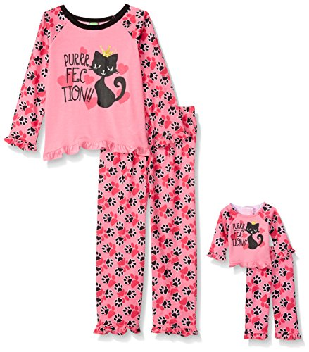 Dollie & Me Little Girls' 2 Piece Graphic Sleepwear Set with Matching 18 inch Doll Outfit, Pink Cat Paw, 5 (Me Doll)
