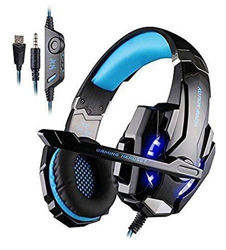 KOTION EACH gaming 헤드 세트 헤드폰 게임용 PC PS4 《스마트폰 장갑 터치 장갑부랏쿠》 블루