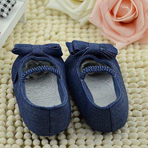 Babyschuhe Longra Baby Bowknot Denim Kleinkind Prinzessin erste Wanderer Mädchen Krabbelschuhe Kind Schuhe Lauflernschuhe(0 ~ 12 Monate) Blue