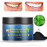 Charcoal Teeth Whitening Powder, Herwiss Teeth Whitening Toothpaste, Natural Organic Coconut Activated Charcoal, Enamel Safe Tooth Whitener for Sensitive Teeth, Remove Tooth Stain, Mint Flavor, 2.12oz