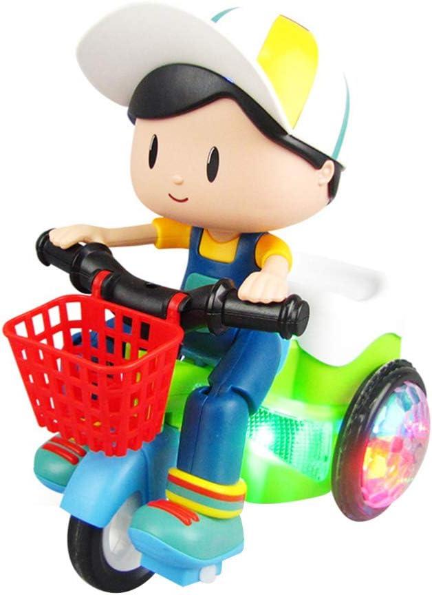 TOYANDONA Juguete Triciclo Ligero Juguete Eléctrico para Coche con Luces LED Intermitentes Juguete Inteligente de Plástico para Niños Niño (Estilo Niño sin Batería Color Aleatorio)