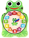 Elloapic Wooden Animal Design Teaching Clock Time Number Learning with Shape Match Block (Frog)