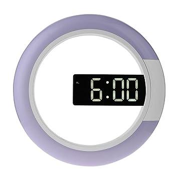 12 pulgadas LED espejo de recorte reloj de pared de siete colores en forma de anillo