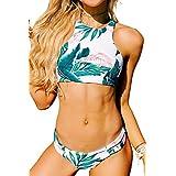 SEASELFIE Women's Tropical Forests Pattern High Neck Push Up Tankini Bikini Set